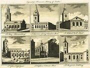 Virtue's - Churches Of St. Giles In The Fields- Copper Engraving -1738