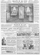 Victorian Adverts Maple And Co Furniture, Rudge And Co Cycles - Antique Print 1886