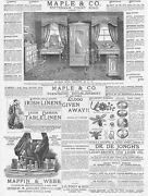 Victorian Adverts Maple And Co Furniture, Irish Linens - Antique Print 1886