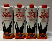4 Pack Piezas Forever Living Aloe Bits N Peaches 33.8 Fl 1 Liter Free Shipping