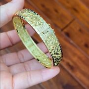 18k Solid Real Yellow Gold Engraved Dragon And Phoenix Bangle 56 Mm W 11 Mm - B11