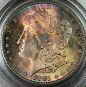 1881-s Morgan Silver Dollar Pcgs Ms-65 Monster Toned