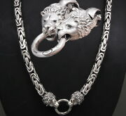 28 Heavy Lion Bali Byzantine 925 Sterling Silver Mens Necklace King Chain Pre