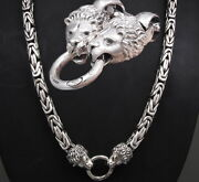 30 Heavy Lion Bali Byzantine 925 Sterling Silver Mens Necklace King Chain Pre