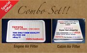 Engine Filter And Cabin Air Filter Combo Set For Camry Sienna Solara Oem Quality