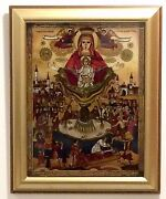 Orthodox Icon - Mother Of God Of The Life-giving Spring - Hand Painted On Glass