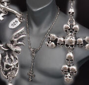 26 104g Skull Crown Cross Rosary 925 Sterling Silver Mens Necklace Chain Pre