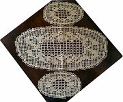 New Hand Crocheted Oval Doily Set Of 3 Doilies Made In Italy