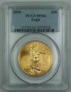 2010 American Gold Eagle Age 50 Coin Pcgs Ms-66 Gem Uncirculated