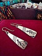 American Indian Jewelry Ss Earrings Hand Stamped Pattern Overlay Detailing Hopi