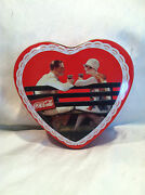 Collectible Loving Couple Sitting On Park Bench Heart Shaped Coca Cola Coke Tin