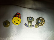 4 Collectible Vintage 2 Bpoe Elks And 2 Masonic Tie Tac Pins