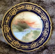 Antique Nippon Hand Painted 10 Lg Plate With Gold Details