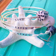 Live Love Laugh Bangle Bracelet Set With Tahitian Pearl And Shells