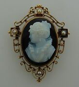 Agate Cameo Pearl Gold Pin Brooch Pendant Victorian C.1900s Antique