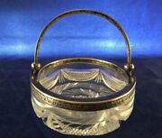 Antique Latvian Sterling Silver 875 Cut Crystal Glass Bowl Dish 1900's