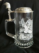 Vintage Glass/pewter Beer Stien/tankard By Domex Soaring Eagles Etched On Side