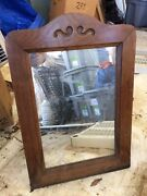 Collectible Antique Table Mirror Handcrafted Wood Easel Style Very Heavy