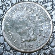 1867 Usa - One Cent - Indian Head - Clear Date