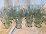 Vintage Collectible Coca Cola Green Pebbled Texture Glass Set 12 Glasses Total