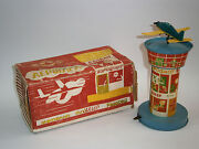 Vintage Wind-up Tin/plastic Toy Plane Airport Tower 1960and039s Csa Air France Klm