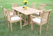 Sam A-grade Teak 7pc Dining 69 Console Rectangle Table 6 Stacking Arm Chair Set
