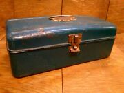 Vintage Union Steel Chest Corp. Dark Teal Metal Tackle Box W Exterior Ruler Usa