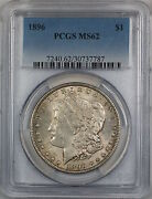 1896 Morgan Silver Dollar 1 Pcgs Ms-62 Lightly Toned Better Coin 4a