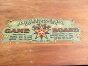 Vtg Archarena Star Wood Carrom-type Game Board 1900s Americana Rare Flags Toy Ok