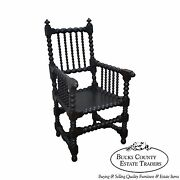 Great Antique 19th Century Solid Walnut Spool Turned Arm Chair