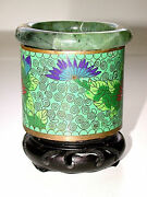 Lovely Antique Chinese Folkart Jade And Cloisonne Brush Pot W/attached Wood Stand