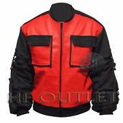 Back To The Future Marty Mcfly Mens Bomber Leather Jacket With Cotton Sleeves