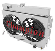 4 Row Radiator With Fans And Shroud For 63-68 Gm Impala/bel Air/chevelle