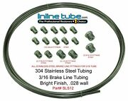 Stainless Steel Brake Line Tubing Kit 3/16 Od Coil Roll And Sae Tube Nut Fittings