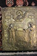 Antique Russian Icon Jesus Christ St Theophylact St Euphrosyne With Oklad Ci