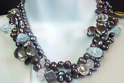 Gorgeous Cultured Multi Colors Pearls And Crystal Layer Necklace Honora