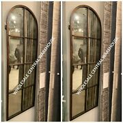 Two Arched 50 French Farmhouse Industrial Designer Wall Antiqued Mirror Window