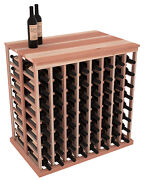 Wooden Double Deep Tasting Table Wine Rack With Solid Top In Redwood. Us Made.