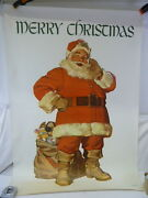 Vintage Peter Pan Bread Lithograph Santa Claus Large Poster/print Signed