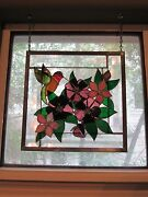 Hand Made By Local Artist Stained Glass Hummingbird And Flowers Themed Gorgeous