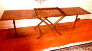 Baker Party Butler Serving Exp Table W Removable Tray Oak And Brass W Burl Inset
