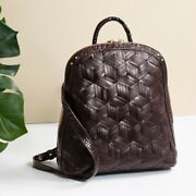 ❤ Brahmin Rosemary Cocoa Backpack Brown Croc Woven Leather Dartmouth Felicity❤