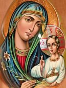 Madonna And Child Icon Huge Russian Lacquer Egg Stand Christian Orthodox 16.5