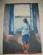 Finished Beautiful Cross Stitched Hand Made Lady At A Window By Salvador Dali