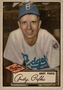 1952 Topps 1a Andy Pafko Black Back Back Poor D253389