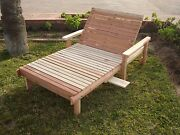 Wide Beach Redwood Chaise Lounge 30h X 36w X 72l
