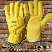 Premium Yellow Leather Driver Work Gloves Fleece Lined Lorry Truck Driving Glove