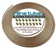 Copper Nickel Brake Line Tubing Kit 3/16 Od 25 Foot Coil Roll And 3/8-24 Fittings