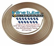 Copper Nickel Brake Line Tubing Kit 3/16 Od 25 Foot Coil Roll And Metric Fittings