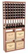 Wooden Side Display Solid Case Bin Combo Wine Cellar Rack In Redwood. Usa Made